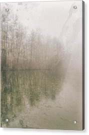 Acrylic Print featuring the photograph Foggy Day On The Border Of The Lake by Maciej Markiewicz