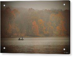 Foggy Fishing Acrylic Print by Lorella  Schoales