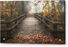 Foggy Lake Park Footbridge Acrylic Print