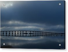 Acrylic Print featuring the photograph Foggy Mirrored Navarre Bridge At Sunrise by Jeff at JSJ Photography