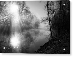 Foggy Misty Morning Sunrise On James River Acrylic Print