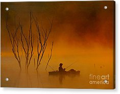 Foggy Morning Fisherman Acrylic Print by Elizabeth Winter