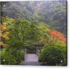 Foggy Morning In Japanese Garden Acrylic Print