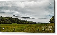 Acrylic Print featuring the photograph Foggy Morning In The Mountains. by Debbie Green