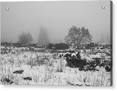 Acrylic Print featuring the photograph Foggy Morning Mountain Snow by Jivko Nakev