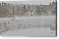 Foggy Morning Small Lake, New Hampshire Acrylic Print by Darrell Gulin