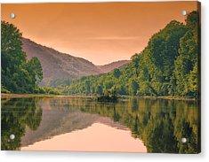 Foggy Morning Sunrise Along Buffalo River Acrylic Print by Bill Tiepelman