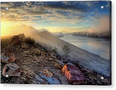 Foggy Morning Sunrise Acrylic Print by Steve Barge