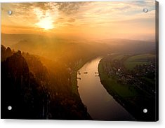 Foggy Sunrise At The Elbe Acrylic Print