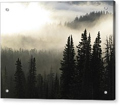 Foggy Sunrise At Yellowstone Acrylic Print