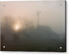 Foggy Sunrise Over Barn Acrylic Print