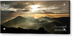 Foggy Sunrise Over Haleakala Crater On Maui Island In Hawaii Acrylic Print