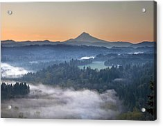 Acrylic Print featuring the photograph Foggy Sunrise Over Sandy River And Mount Hood by JPLDesigns