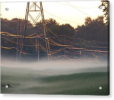 Acrylic Print featuring the photograph Foggy Sunrise Wires by Nikki McInnes