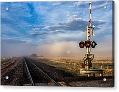 Foggy Train Tracks Acrylic Print by John McArthur