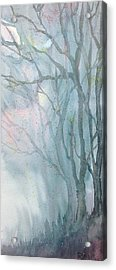 Acrylic Print featuring the painting Foggy Trees by Rebecca Davis