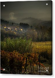Foggy Tuscan Valley  Acrylic Print