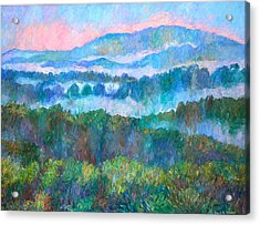 Foggy View From Mill Mountain Acrylic Print by Kendall Kessler