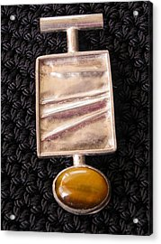 Folded Silver Pendant Acrylic Print by Patricia  Tierney