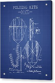 Folding Kite Patent From 1892- Blueprint Acrylic Print by Aged Pixel