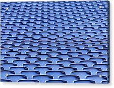 Folding Plastic Blue Seats Acrylic Print by Dutourdumonde Photography