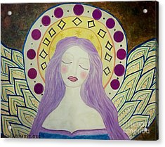 Folk Angel Primitive Blessings  Acrylic Print by Sacred  Muse