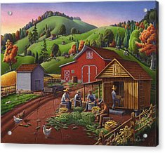 Folk Art Americana - Farmers Shucking Harvesting Corn Farm Landscape - Autumn Rural Country Harvest  Acrylic Print by Walt Curlee