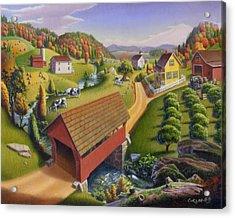 Folk Art Covered Bridge Appalachian Country Farm Summer Landscape - Appalachia - Rural Americana Acrylic Print by Walt Curlee