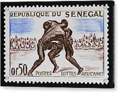 Folk Wrestling Vintage Postage Stamp Print Acrylic Print