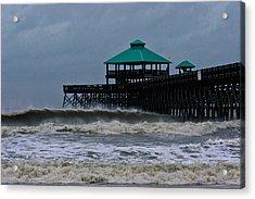 Folly Beach Pier During Sandy Acrylic Print