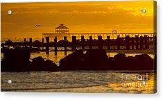 Folly Beach Pier Sunset Acrylic Print by Dustin K Ryan