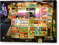 Food Cart In New York City Acrylic Print by Diane Diederich