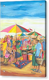 Acrylic Print featuring the painting Food Market In Cameroon by Emmanuel Baliyanga