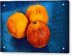 Food Still Life - Three Oranges On Blue - Digital Painting Acrylic Print