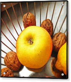 Food Still Life - Yellow Apple And Brown Walnuts - Beautiful Warm Colors Acrylic Print by Matthias Hauser