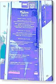 Food Truck Menu In Blue Acrylic Print