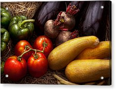 Food - Vegetables - Peppers Tomatoes Squash And Some Turnips Acrylic Print by Mike Savad