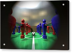 Foosball Table Through A Peephole Acrylic Print by Allan Swart