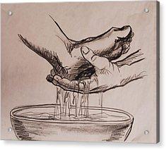 Foot Washing Acrylic Print by Heidi E  Nelson