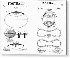 Football Baseball Patent Acrylic Print by Dan Sproul