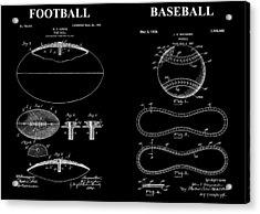 Football Baseball Patent Drawing Acrylic Print by Dan Sproul