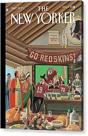 Football Fans Invite People Over For Thanksgiving Acrylic Print by Bruce McCall