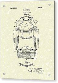 Football Helmet 1929 Patent Art Acrylic Print