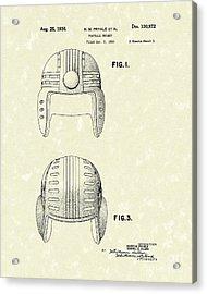 Football Helmet 1936 Patent Art Acrylic Print by Prior Art Design