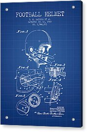 Football Helmet Patent From 1960 - Blueprint Acrylic Print by Aged Pixel