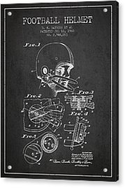 Football Helmet Patent From 1960 - Charcoal Acrylic Print by Aged Pixel