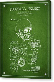 Football Helmet Patent From 1960 - Green Acrylic Print by Aged Pixel