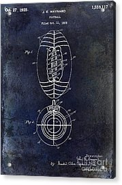 1925 Football Patent Drawing Blue Acrylic Print by Jon Neidert