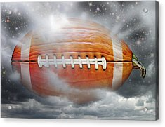 Football Pumpkin Acrylic Print by James Larkin