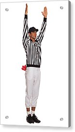 Football Referee Signaling Touchdown Acrylic Print by Comstock